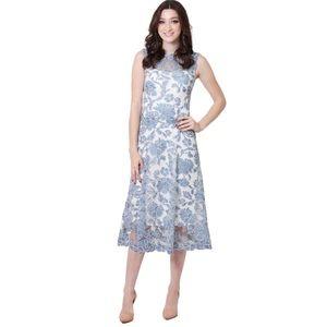 Betsy & Adam Lace Tea Length Fit & Flare Dress